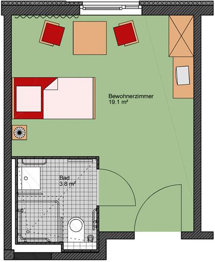 pflegezentrum am kurpark zimmer pflegeeinrichtungen in bad schmiedeberg. Black Bedroom Furniture Sets. Home Design Ideas